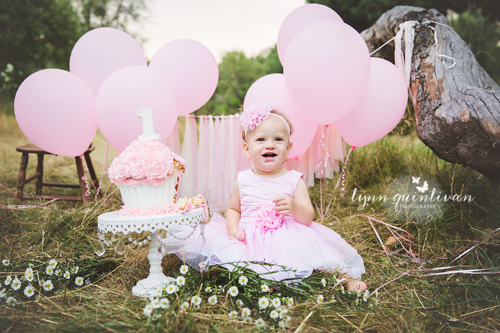 baby first photo shoot ideas - outdoor cake smash photographer in ma